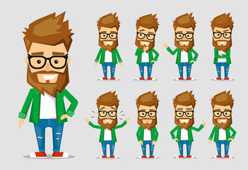 Character men hipster. A collection of several movements and emotions.