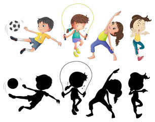 People doing different sports set with silhouette