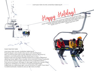 Vector illustration of skiers riding on the lift at the ski resort on a white background. Template brochure, flyer or illustration for website for ski resort, winter vacation, winter active sport