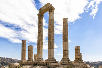View of Temple of Hercules in Amman, Jordan. It is the most significant Roman structure in the Amman Citadel, which is considered to be among the world's oldest continuously inhabited places.