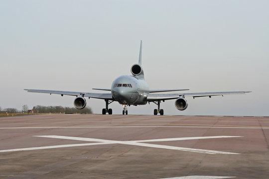 RAF Lockheed L1011 Tristar getting ready for takeoff at Brize Norton air base
