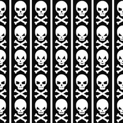 Halloween pattern with skulls and stripes. Seamless halloween background. Happy Halloween concept illustration.