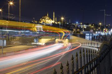The Suleymaniye Mosque at night. .