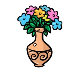 vase flowers cartoon illustration isolated image