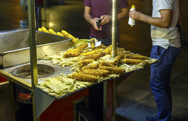 Fresh roasted corn, street food, Istanbul, Turkey..