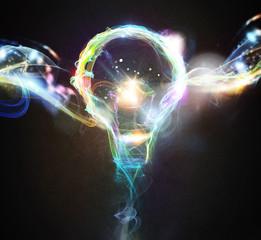 Fototapete - Colourful lighting bulb