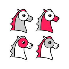 Horse head outline (set)