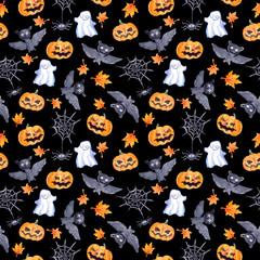 Halloween seamless pattern - pumpkin, bat, ghost, spider. Cute watercolor