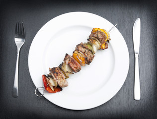 Meat kebab with vegetables in white plate