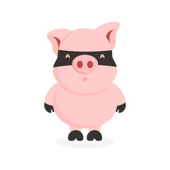 cute flat pig character with mask