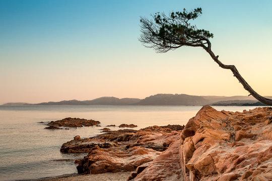 Plage Palombaggia, Corse, coucher du soleil