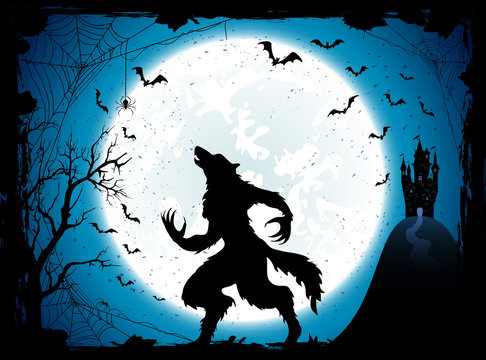 Blue Halloween background with castle and werewolf