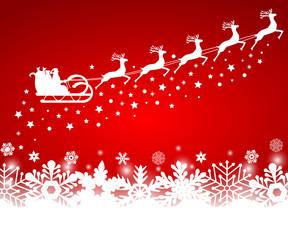 Santa Claus in sled rides in  reindeer