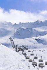 Ski lifts, pistes and skiers in Alpine ski resort Obergurgl Hochgurgl in Tirol, Austria