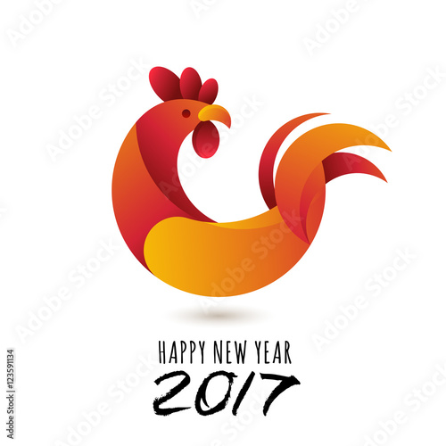 Vector: Happy New Year 2017. Vector greeting card with red rooster ...