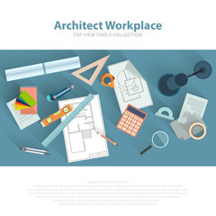 Architects workplace with architectural tools, blueprints, ruler, calculator, divider compass. Construction concept. Engineering studio. Top view flat vector