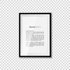 Black blank picture isolated on transparent wall. Frame template poster. Picture frame set. Vector