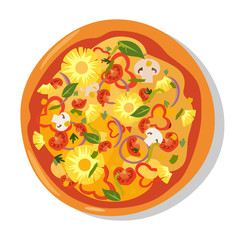 Flat hot pizza icons. Pizza isolated on white, pepperoni pizza. Vector