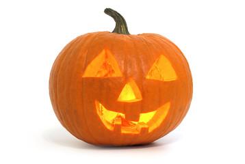 illuminated halloween pumpkin lantern on white background