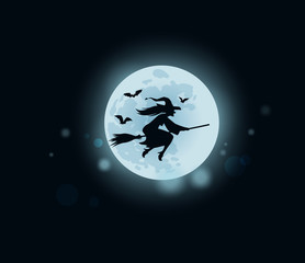 Halloween. witch flying on broomstick