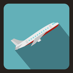 Plane icon. Flat illustration of plane vector icon for web isolated on a baby blue background