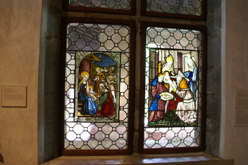 Stained glass, Circumcision of the baby Jesus,