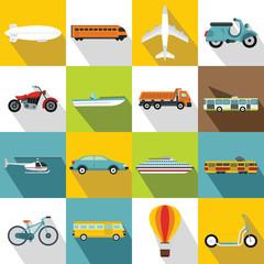Transportation icons set. Flat illustration of 16 flat vector icons for web