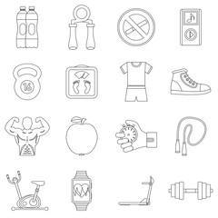 Fitness icons set. Outline illustration of 16 fitness vector icons for web