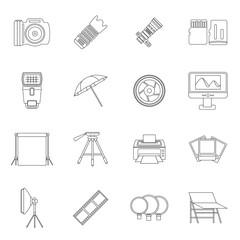 Photo studio icons set. Outline illustration of 16 photo studio vector icons for web