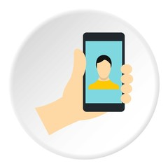 Man making selfie icon. Flat illustration of phone vector icon for web design