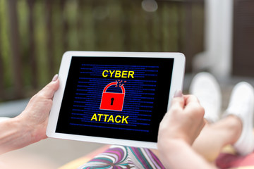 Cyber attack concept on a tablet