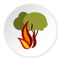 Fire in woods icon. Flat illustration of fire in woods vector icon for web