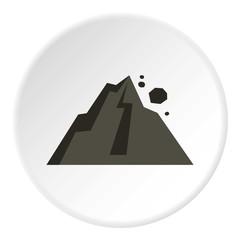 Rockfall in mountains icon. Flat illustration of rockfall in mountains vector icon for web