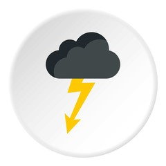 Clouds and storm icon. Flat illustration of clouds and storm vector icon for web