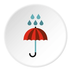 Umbrella and rain icon. Flat illustration of umbrella and rain vector icon for web