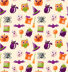 Halloween Seamless Pattern with Colorful Flat Icons