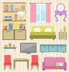 Set of Colorful Furniture of Room for Your Interior of Apartment