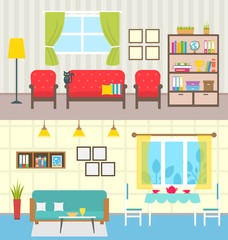 Set Home Interiors. Design of Living Rooms