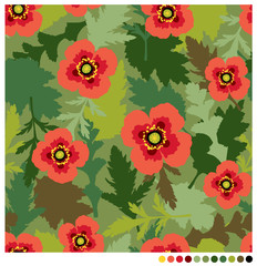 Poppy flowers and leaves seamless vector pattern