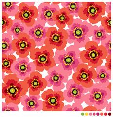Sweet poppy flowers seamless vector pattern