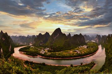 Poster de jardin Guilin Xianggong hill landscape of Guilin, Li River and Karst mountains. Xingping, Yangshuo County, Guangxi Province, China