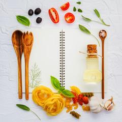 Italian foods concept and menu design . Various pasta elbow maca