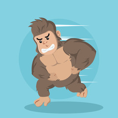 gorilla running vector illustration design