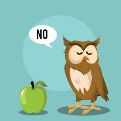 owl dislike fruit vector illustration design