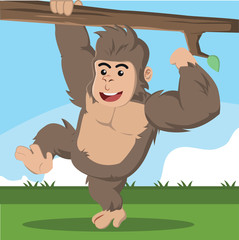 gorilla climbing branch vector illustration design