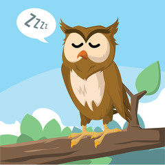owl sleeping vector illustration design