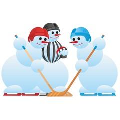 Hockey players and hockey referee