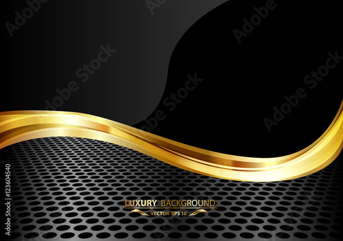 quotabstract luxury black gold on metal mesh background