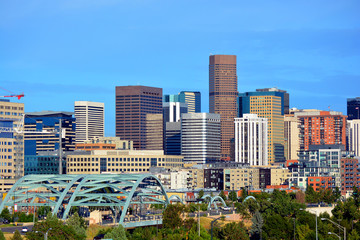 Downtown Denver, Colorado Skyscrapers with Confluence Park and t