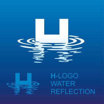 Креативный логотип для фирменного стиля компании: буква h и отражение в воде